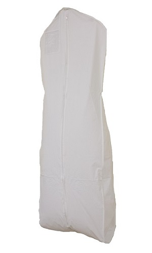 white vinyl dress bag
